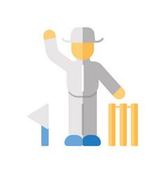 cricket judge flat design long shadow color icon vector image