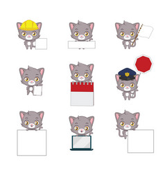Cute gray cat functional poses vector