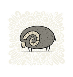 Cute ram simple sketch for your design vector