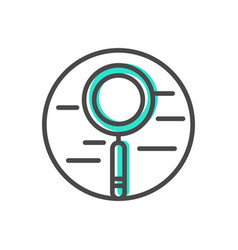 Data stream icon with magnifier sign vector