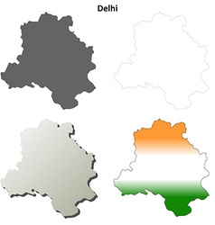Delhi blank detailed outline map set vector image