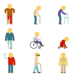 Disability flat icons People signs vector