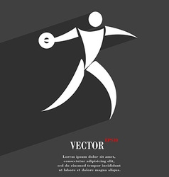 Discus thrower symbol Flat modern web design with vector