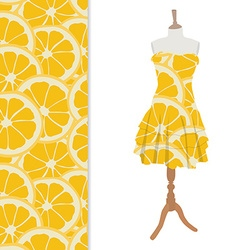 Dress with orange pattern vector