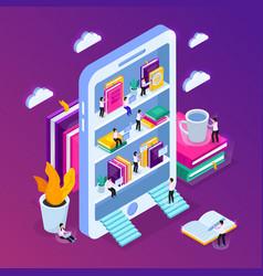 E-library smartphone concept vector