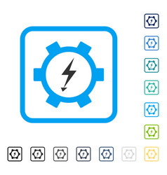 Electric energy gear wheel framed icon vector