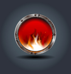 Fire place rusty iron rounded badge icon for vector