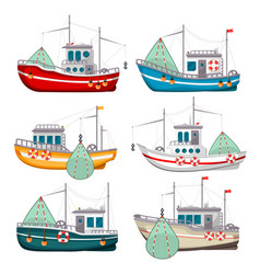 Fishing boats set vector