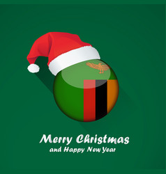flag of zambia merry christmas and happy new year vector image