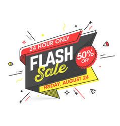 Flash sale banner template in flat trendy memphis vector