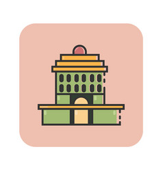 Flat color oakland city hall icon vector