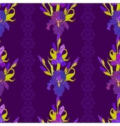 Floral dark seamless pattern Flower iris vector