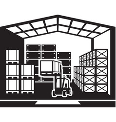 Forklift transports pallets in warehouse vector