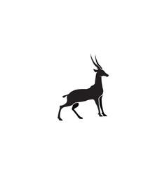 gazelle silhouette black antelope stand vector image