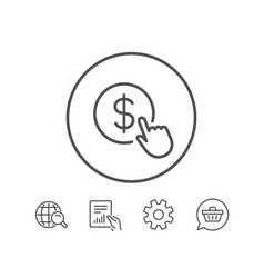 Hand click line icon currency exchange sign vector