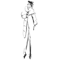 hand drawn cute winter fashion sketch cartoon vector image