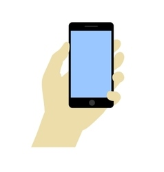 Hand holdng black smartphone touching blank vector image