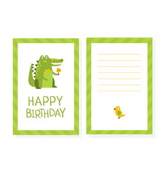 happy birthday card template with cute crocodile vector image