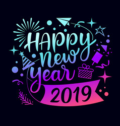 happy new year 2019 message with icons vector image