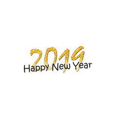 happy new year text bright gold number 2019 with vector image