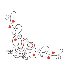 Hearts rose flower curls valentines day vector