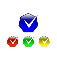 hexagon check mark logo vector image