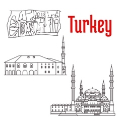 Historic architecture and sightseeings of Turkey vector