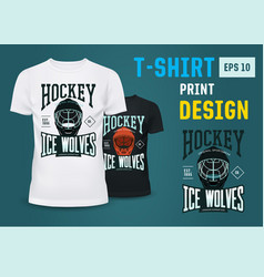 Hockey team print on t-shirt for winter sport vector