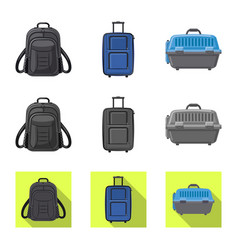 Isolated object of suitcase and baggage icon set vector