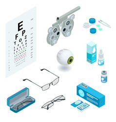 isometric set ophthalmology and eye care icons vector image