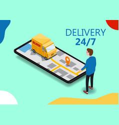 isometry cargo delivery smartphone buyer van vector image
