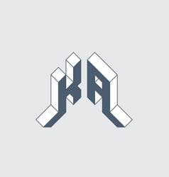 ka - logo or 2-letter code isometric 3d font vector image