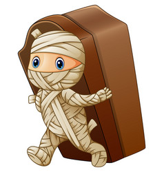 kid in a mummy costume with vector image