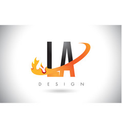 La l a letter logo with fire flames design and vector