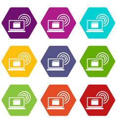 laptop and and wireless icon set color hexahedron vector image