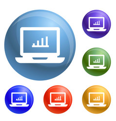 laptop icons set vector image