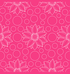 Lotus and circles pink seamless pattern vector