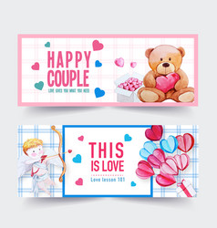 Love banner design with doll cupid box watercolor vector