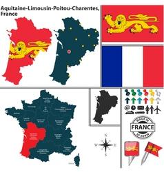 Map of Aquitaine Limousin Poitou Charentes vector