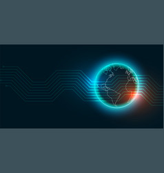 modern digital technology earth concept vector image