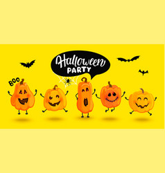 Monster pumpkins invite to halloween party vector