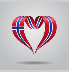 Norwegian flag heart-shaped ribbon vector