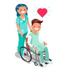 Nurse with patient in wheelchair isometric people vector