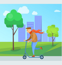 old man with red scarf riding scooter in park vector image