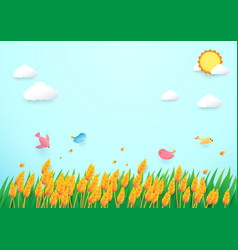 Paper art style barley field and birds vector
