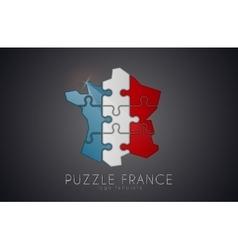 Puzzle France France logo design Map of France vector image vector image