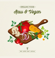 raw and vegan food concept for healthy eating vector image