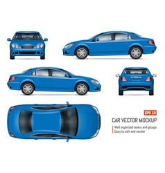 realistic blue sedan car mock-up vector image