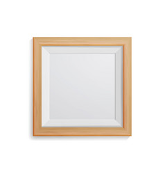 Realistic photo frame square light wood vector