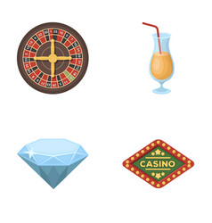 Roulette a glass with a drink a diamond a sign vector